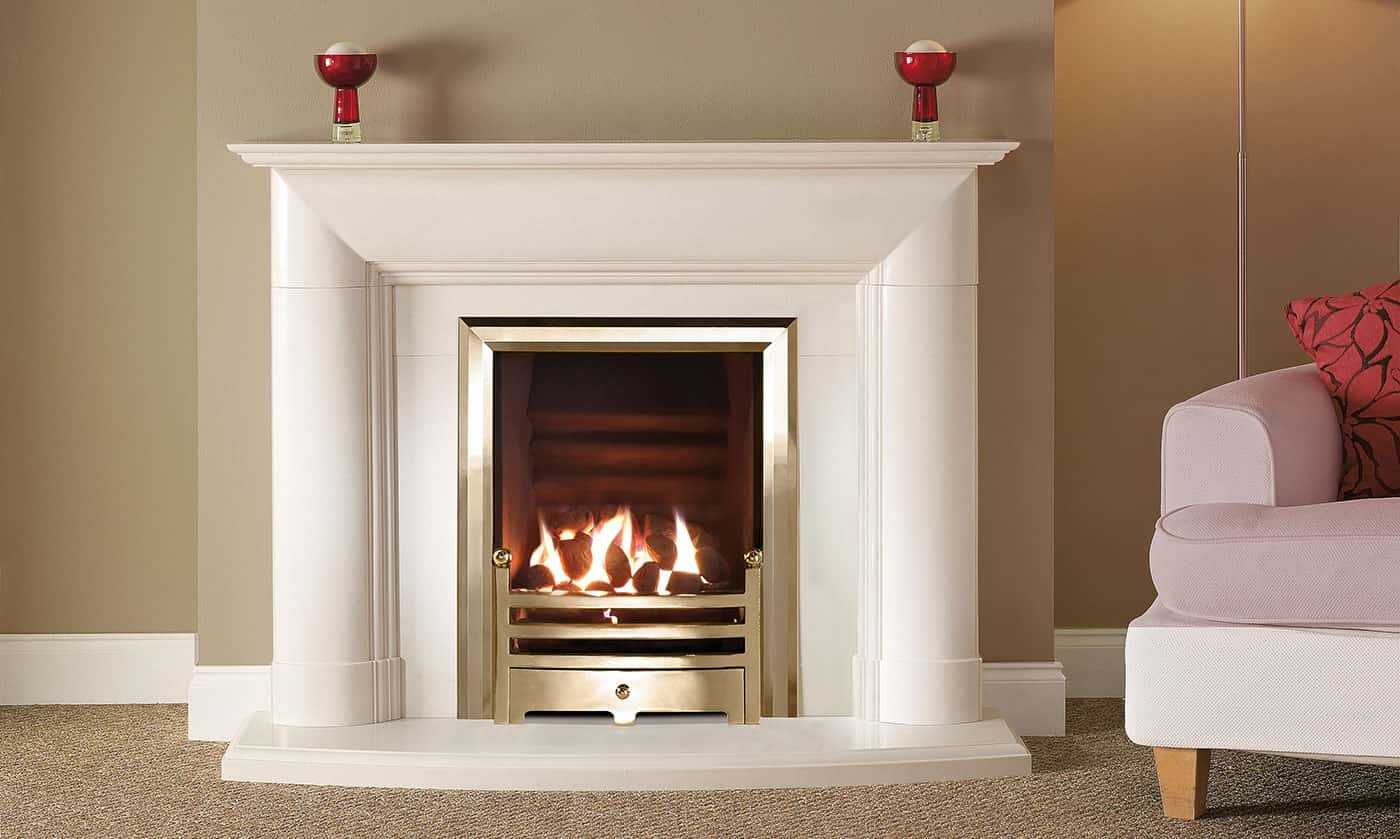 Burrell suite with inset gas fire banner