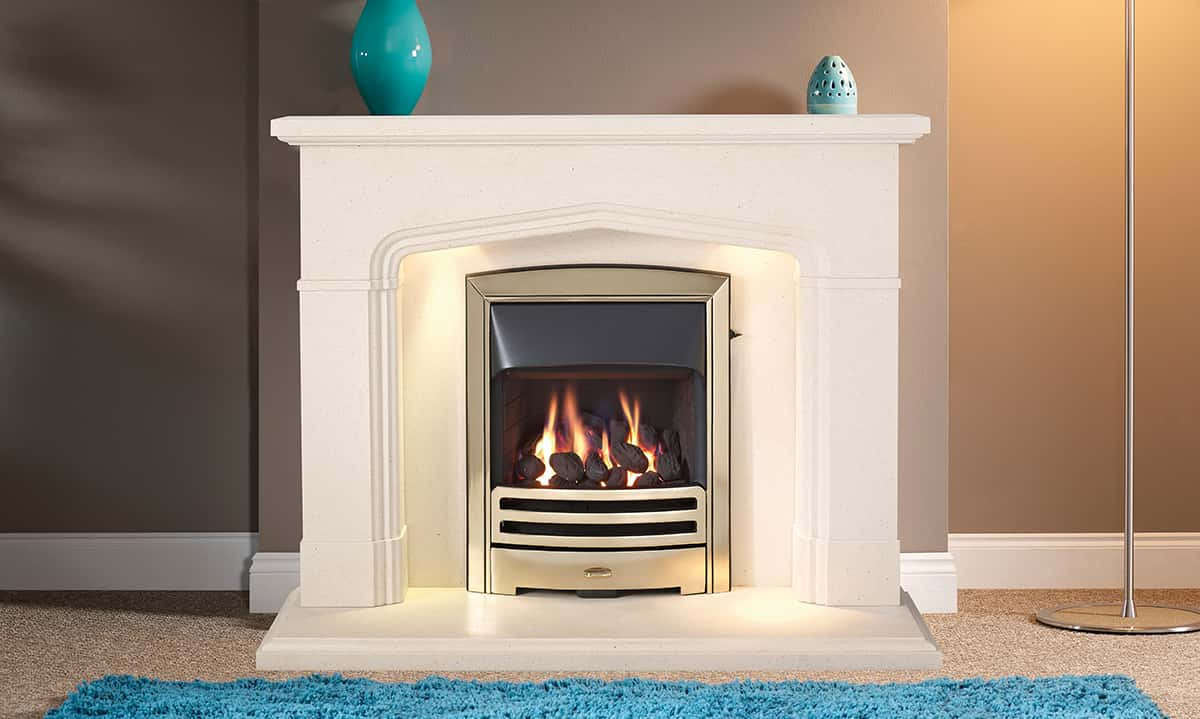 Woodbridge Satin Beige suite with inset gas fire banner