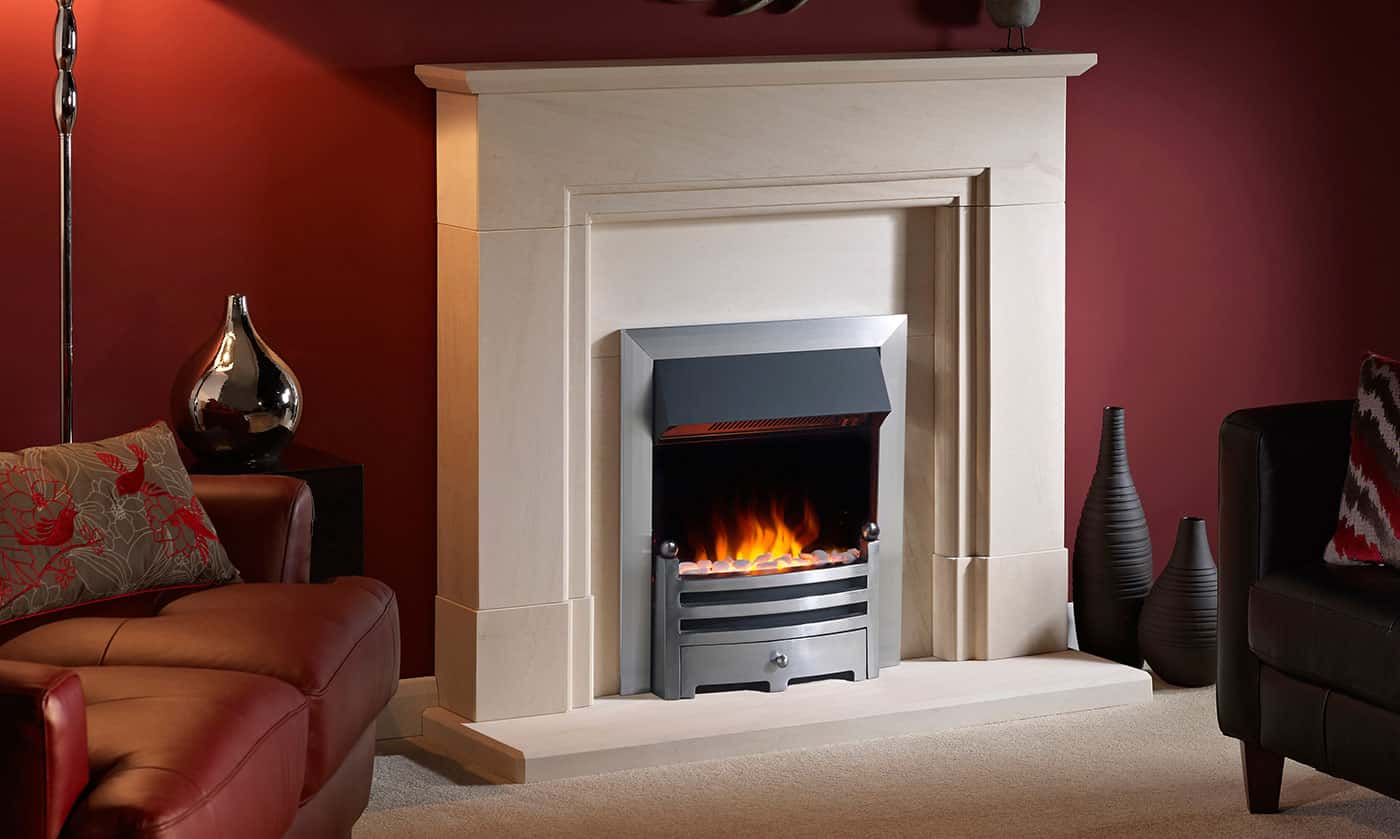 Acombe suite with Gazco electric inset fire banner