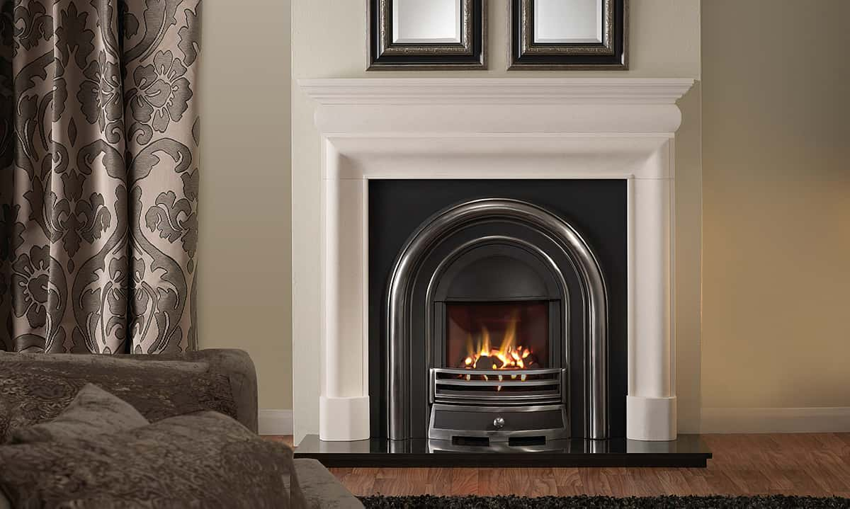 Mulholland limestone surround with balanced flue Greencast gas fire banner